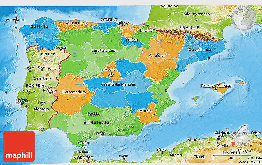 3d Map Of Spain.Political 3d Map Of Spain Physical Outside