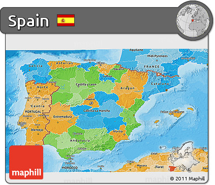 Political 3D Map of Spain, political shades outside