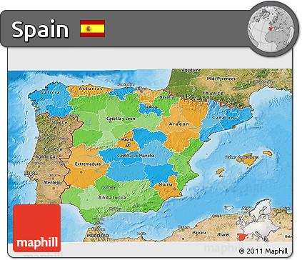 Political 3D Map of Spain, satellite outside, bathymetry sea