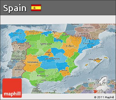 Political 3D Map of Spain, semi-desaturated