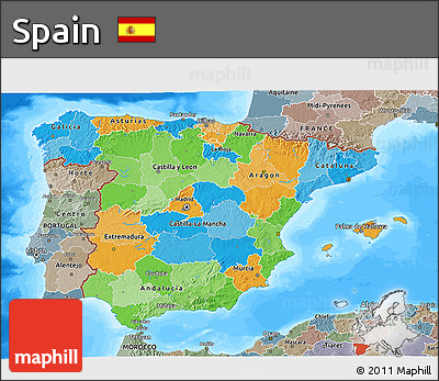 Political 3D Map of Spain, semi-desaturated, land only