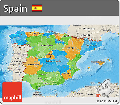 Political 3D Map of Spain, shaded relief outside, bathymetry sea