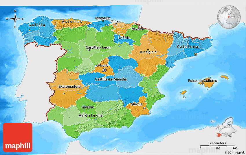 3d Map Of Spain.Political 3d Map Of Spain Single Color Outside Bathymetry Sea