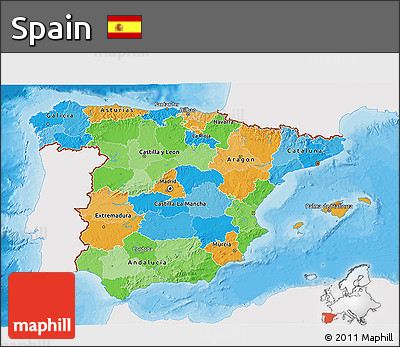 Political 3D Map of Spain, single color outside
