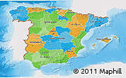 Political 3D Map of Spain, single color outside, shaded relief sea