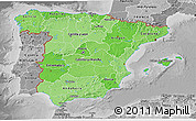 Political Shades 3D Map of Spain, desaturated