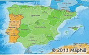 Political Shades 3D Map of Spain