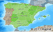 Political Shades 3D Map of Spain, semi-desaturated, land only