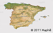 Satellite 3D Map of Spain, cropped outside