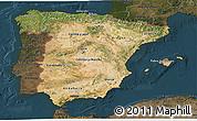 Satellite 3D Map of Spain, darken
