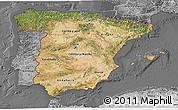 Satellite 3D Map of Spain, desaturated