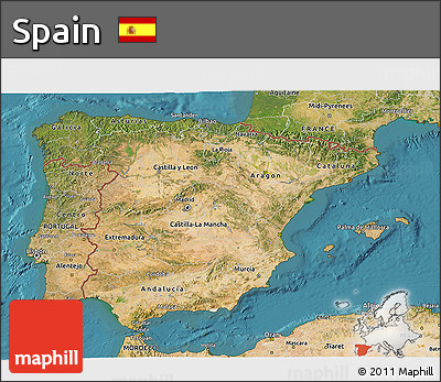 Satellite 3D Map of Spain