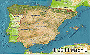 Satellite 3D Map of Spain, physical outside, satellite sea