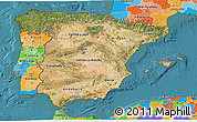 Satellite 3D Map of Spain, political outside, satellite sea