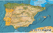 Satellite 3D Map of Spain, political shades outside, satellite sea