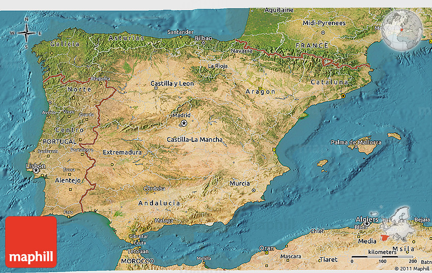 3d Map Of Spain.Satellite 3d Map Of Spain
