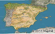 Satellite 3D Map of Spain, semi-desaturated, land only