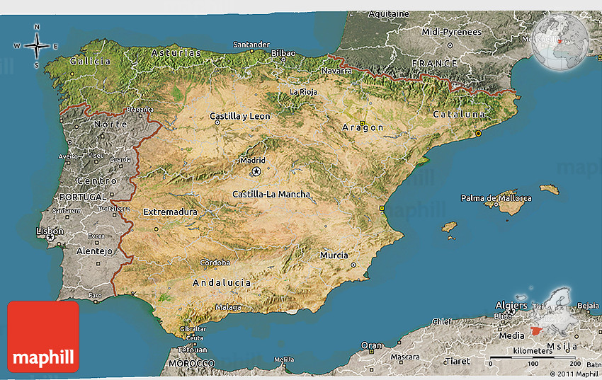 3d Map Of Spain.Satellite 3d Map Of Spain Semi Desaturated Land Only