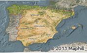 Satellite 3D Map of Spain, semi-desaturated