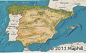 Satellite 3D Map of Spain, shaded relief outside, satellite sea