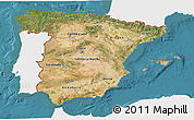 Satellite 3D Map of Spain, single color outside