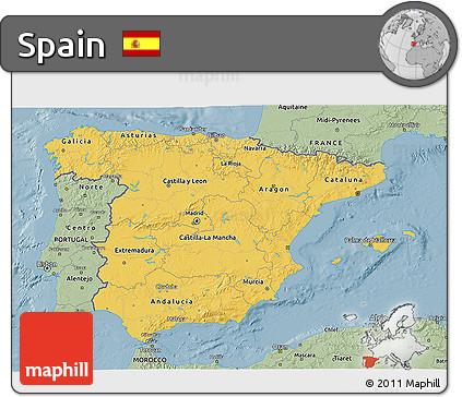 Savanna Style 3D Map of Spain