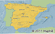 Savanna Style 3D Map of Spain, single color outside