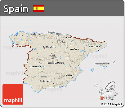 Shaded Relief 3D Map of Spain, cropped outside