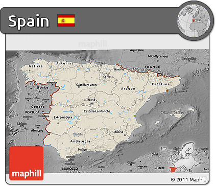 Shaded Relief 3D Map of Spain, darken, desaturated