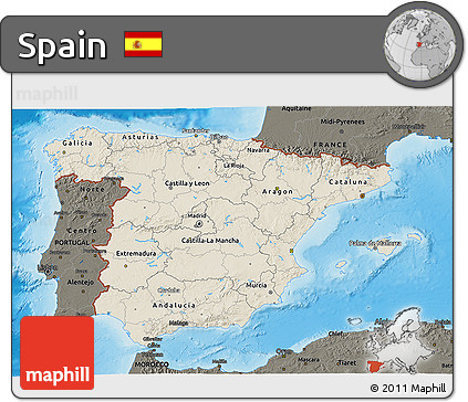 Shaded Relief 3D Map of Spain, darken, land only
