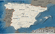 Shaded Relief 3D Map of Spain, darken