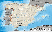 Shaded Relief 3D Map of Spain, darken, semi-desaturated, land only