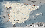 Shaded Relief 3D Map of Spain, darken, semi-desaturated