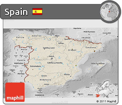 Shaded Relief 3D Map of Spain, desaturated
