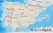 Shaded Relief 3D Map of Spain, desaturated, land only