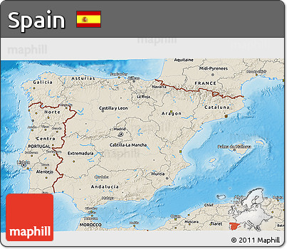 Shaded Relief 3D Map of Spain