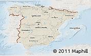 Shaded Relief 3D Map of Spain, lighten