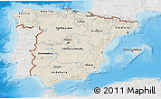 Shaded Relief 3D Map of Spain, lighten, semi-desaturated, land only