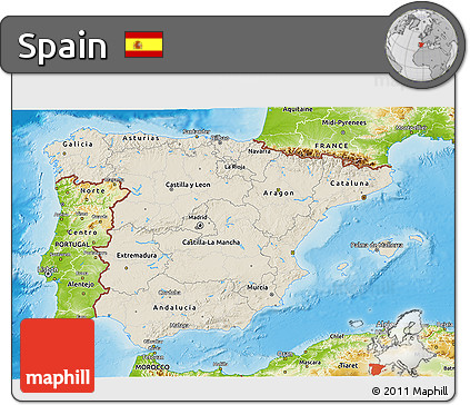 Shaded Relief 3D Map of Spain, physical outside