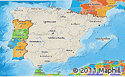 Shaded Relief 3D Map of Spain, political outside