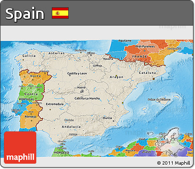 Shaded Relief 3D Map of Spain, political outside, shaded relief sea