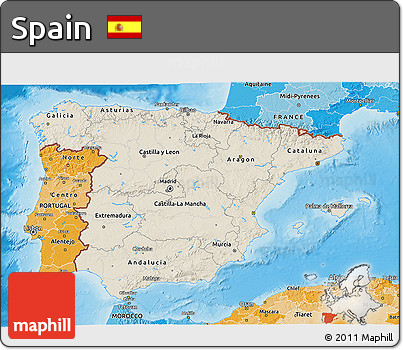 Shaded Relief 3D Map of Spain, political shades outside, shaded relief sea
