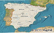 Shaded Relief 3D Map of Spain, satellite outside
