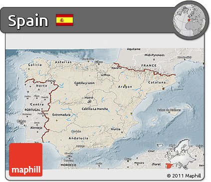 Shaded Relief 3D Map of Spain, semi-desaturated