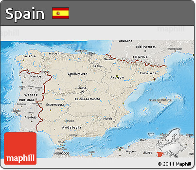Shaded Relief 3D Map of Spain, semi-desaturated, land only