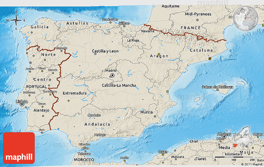 Map Of South Spain.Shaded Relief 3d Map Of Spain