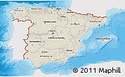 Shaded Relief 3D Map of Spain, single color outside, bathymetry sea, shaded relief sea
