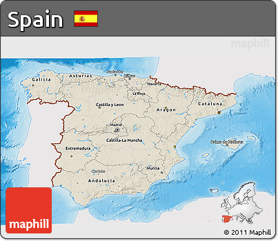 Shaded Relief 3D Map of Spain, single color outside