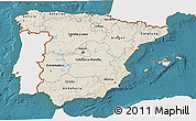Shaded Relief 3D Map of Spain, single color outside, satellite sea