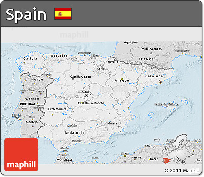 Silver Style 3D Map of Spain